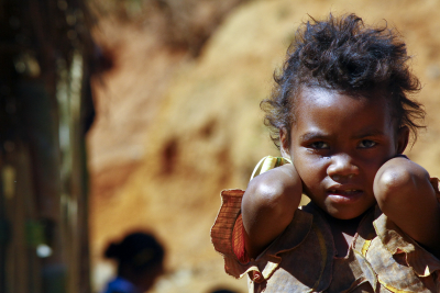 portrait of a poor little african girl